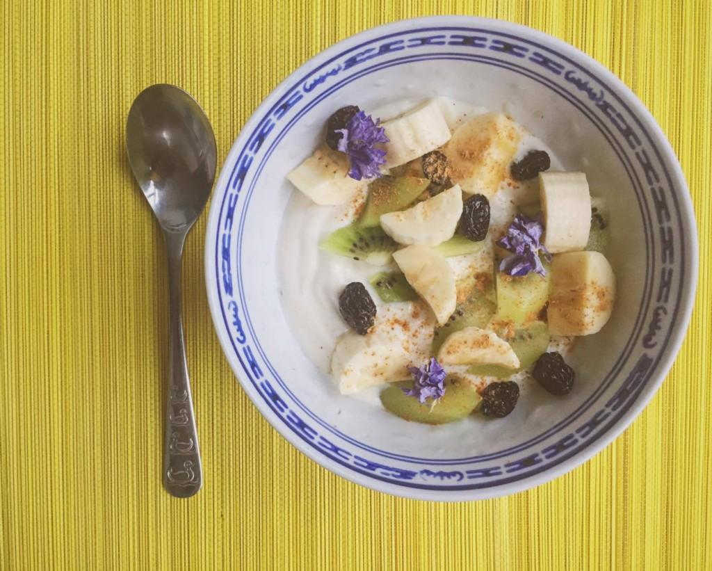 Soyayoghurt met fruit