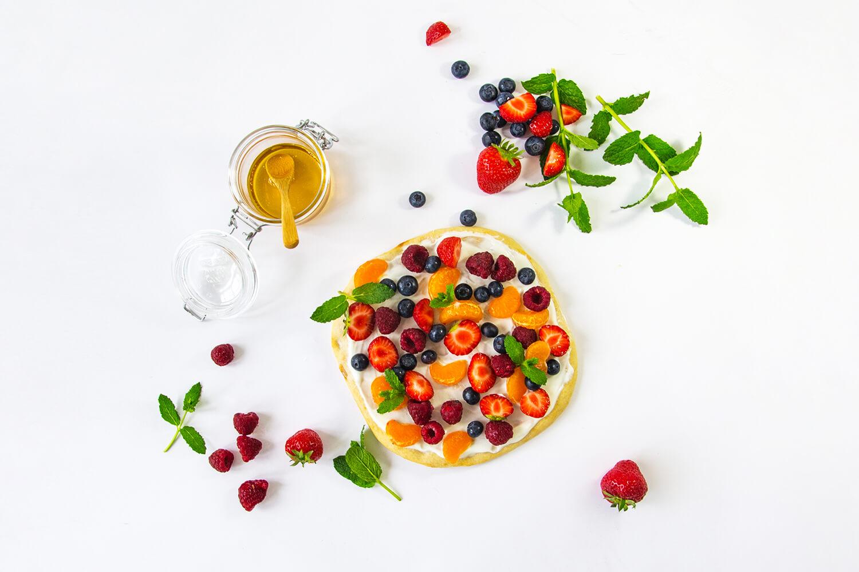 Bloemkoolpizza met kwark en honing