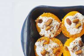 Gevulde perziken met ricotta uit de oven